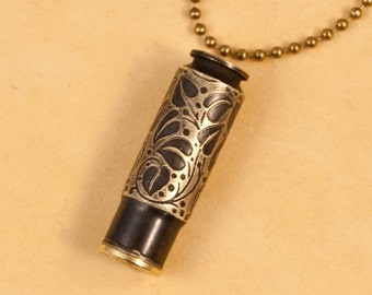 """Time capsule necklace - """"Ivy"""" etched bullet casing pendant"""