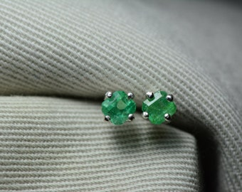 Emerald Earrings, Colombian Emerald Stud Earrings 0.57 Carats, Appraised at 500.00 Sterling Silver,Real Natural Green, May Birthstone, Cut