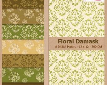 Digital Scrapbook Paper Pack - FLORAL DAMASK - Instant Download