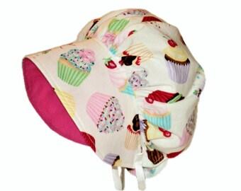 Baby Bonnet, Baby Sun Hat, Toddler Sun Hat, Baby Girl Bonnet, Baby Sun Bonnet, Newborn Bonnet, Summer Bonnet, Cotton Hat, Infant, Cupcakes