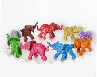 Safari Baby Shower Decoration Custom Color Single Baby Glitter Elephant Jungle Nursery Decor Circus Birthday Party Favor. You Choose Color.