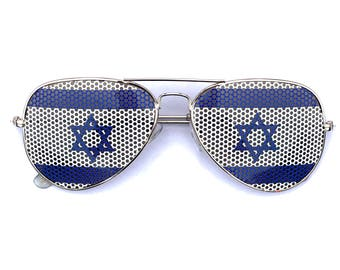 Israeli Flag Star of David Graphic Aviator Sunglasses