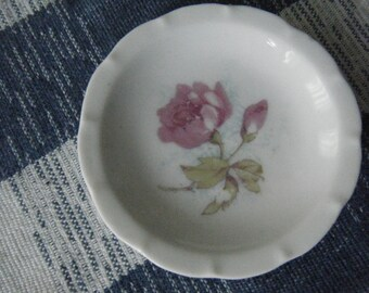 Tiny butter pat plate 3 inch Victoria Austria Rose pattern