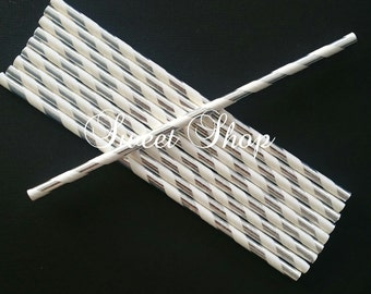Striped Silver Paper Straws (25 Pack)
