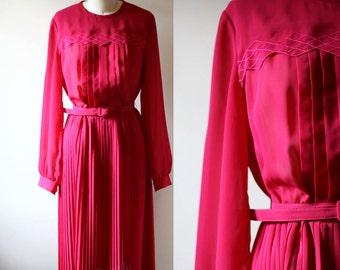 1970s pink dress // longsleeve dress // vintage dress