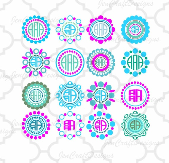 Circle Dot Scallop Monogram Frames Svg Circle Scalloped