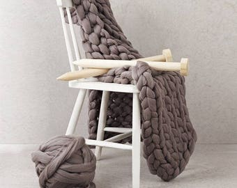 Blanket KNITTING KIT. Giant 40mm Knitting needles. Super Chunky DIY Throw knit, Learn to knit, extreme pattern, crochet K032