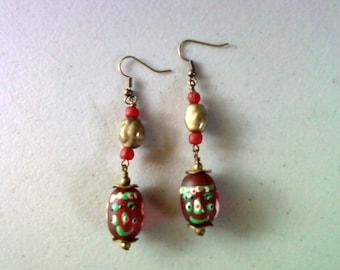 Red Ethnic Earrings (1377)