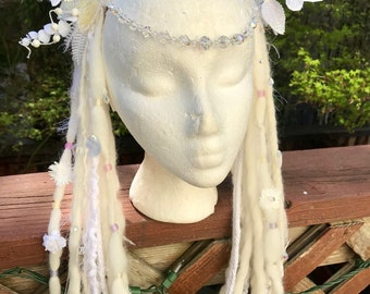 White and light pastel rainbow butterfly crystal headdress