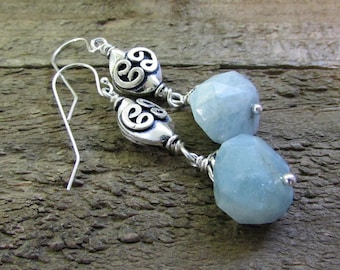 Aquamarine Nugget & Sterling Silver Earring, Aqua Blue Gemstone Earrings