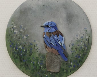 Round table, chickadee, mosaic, painting, 8 BIRDY bird