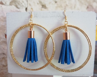 Tassels and gold hoop earrings