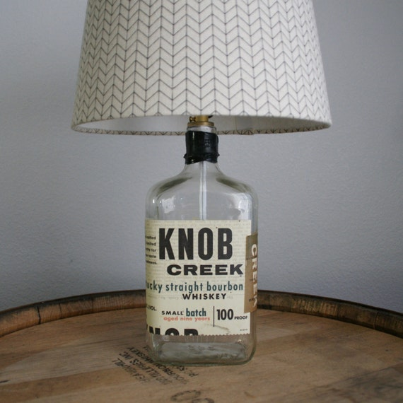 UPcycled Liquor Bottle Lamp - Knob Creek - Kentucky Straight Bourbon Whiskey - Small Batch - SHADE NOT INCLUDED