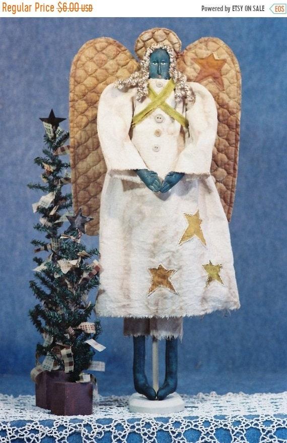 ON SALE Angela - Mailed Cloth Doll Pattern 24in Black Folk Art Primitive Angel