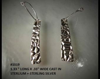 Drop earring cast in sterling silver, one of a kind.# 1019