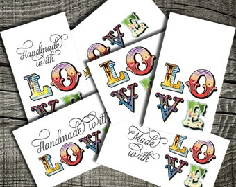 Groovy Circus Love Tags - Laundry Tags - Cards - Thank You Notes - Greeting Cards - 300 DPI 6 Styles - Text and No Text - PDF and PNG files