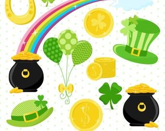 St Patricks Day Clipart, Shamrock Clipart, Coin Clipart, Rainbow Clipart, Pot of Gold