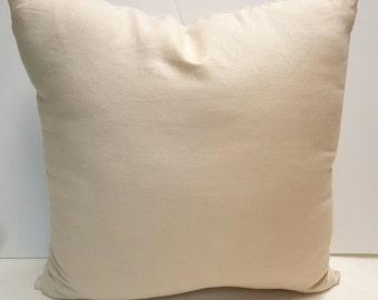 Modern Elegance Robert Kaufman Linen Ivory Indoor Decorative Throw Pillow Cover with Hidden Zipper