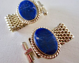 Vintage Lapis Lazuli Gold Metal Cufflinks - Etsy Accessories - Father's Day - Men's Shirt - French Cuff - Fancy - Blue - Gemstone - Destino