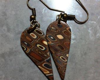 Vintage fimo drop shape earrings