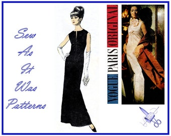 1960s Vogue Paris Original 1341 Nina Ricci Evening Formal Dress Sleeveless Collarless Neck Slit Bow Vintage Sewing Pattern Size 12 Bust 32