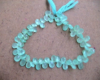 Aqua Green Clacedony  Briolette faceted Pears-8-11  MM--30 pcs- AAA+ Quality