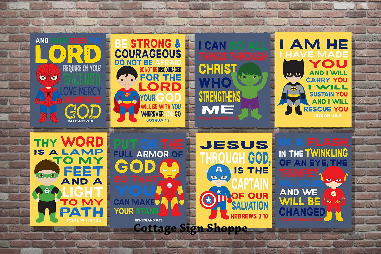 Kids Superhero Bible Verse Kids Scripture Art DIGITALYOU