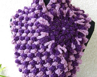 Crochet Cowl PATTERN, Chunky Scarf Two Colors With Flower, DIY Gift For Her, Circle Scarf, Instant Download PDF Pattern #68, Lyubava Crochet