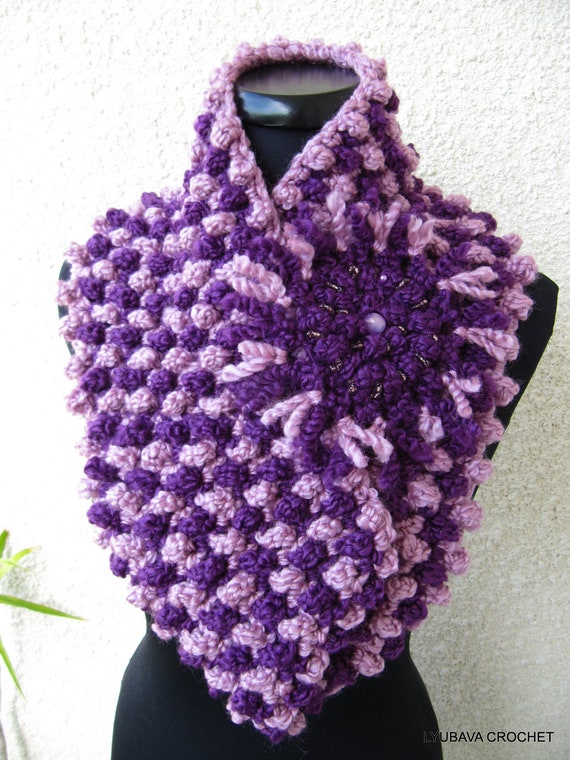 Crochet Cowl PATTERN, Chunky Scarf Two Colors With Flower, DIY Gift ...
