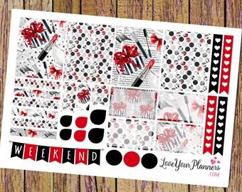 BEAUTY QUEEN Weekly Planner Stickers Makeup Weekly Stickers Vertical Planner Half Box Full Box Sticker Weekend Stickers Heart Checklist 184