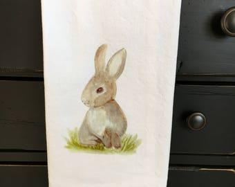 Tea towel, rabbit towel, spring towel, kitchen towel, bath guest towel, gift, decorative tea towel, functional tea towel, unique