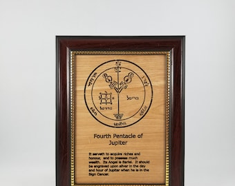 Fourth Pentacle of Jupiter.  This laser engraved wood plaque is framed.  Size is 5 x 7 inches.