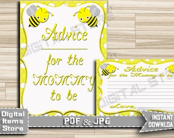Advice For Mommy To Be Yellow - Advice For Parents To Be Bee - Advice Cards Bumble - Baby Shower Advice Bee - INSTANT DOWNLOAD - bee1