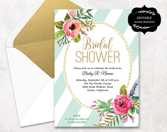 Floral Bridal Shower Invitation, Printable Bridal shower Template, Instant DOWNLOAD - EDITABLE Text - 5x7, BS006