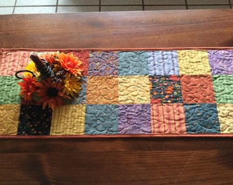 Fall Table Runner, Autumn Folk Art Table Runner, Quilted Fall Runner, Pumpkins Sunflowers Fall Runner Quilt