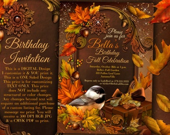 Autumn birthday invitation fall party invitation fall autumn birthday invitation fall party invitation fall festival autumn garden party filmwisefo Images