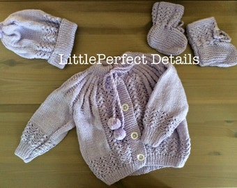 Purple Baby Cardigan, Hat and Booties, Knitted Baby Cardigan, Hat and Booties