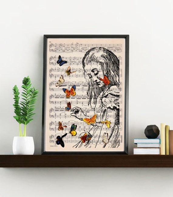 Alice in wonderland wall art print- Wall art home decor- Alice playing with butterflies ALW044MSL