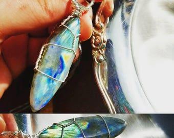 Sliver of Light Labradorite Wire Wrapped Pendant