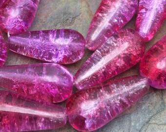 Crackled Fuchsia Dangle 20mm Czech Glass Drops, Boho Style