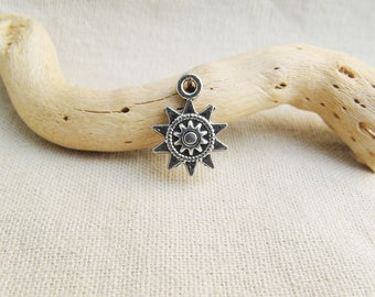 small Sun charm size 17 x 13 mm silver plated 1, 4 or 10 pieces
