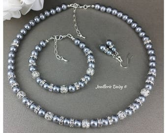Grey Pearl Jewelry Set Bridesmaid Gift Gray Bracelet Bridesmaid Necklace Maid of Honor Gift Mother Jewelry Bridal Party Jewelry Gift for Her