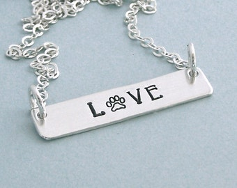 Sterling Silver Love Paw Bar Necklace - Dog Lover Necklace - Hand Stamped Bar Necklace - Dog Lover Gift -