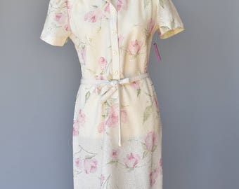 Vintage 1980s Floral Knit Dress NWT