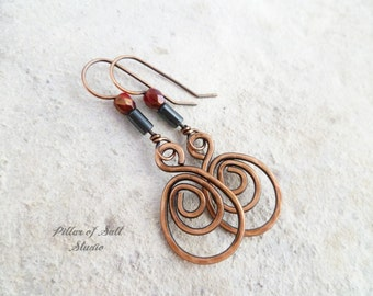 Copper spiral teardrop dangle earrings - wire jewelry - wire wrapped earrings handmade - copper earrings - earthy rustic - red and black