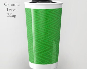 Ceramic Coffee Mug-Green Travel Mug-Coffee Tumbler-Ceramic Mug-12 oz Tumbler-To Go Mug-Insulated Coffee Mug-Insulated Travel Mug