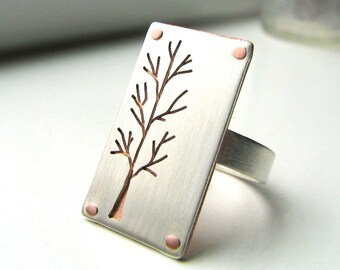 Lone Tree sterling silver and copper riveted ring- made to order