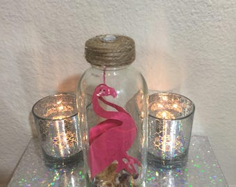 Message in a Bottle with Flamingo