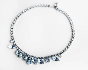 Vintage Blue Rhinestone Choker ~ Retro Hollywood Glam Fashion Jewelry ~ Silver & Blue Wedding ~ Gift for Her