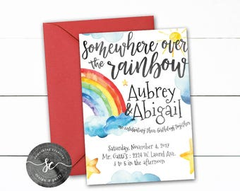 Rainbow Birthday Party Invitations, Duo Birthday, Sisters Birthday, Shared Birthday, Clouds, Stars, Rainbow, Watercolor